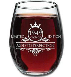 Birthday 15oz Stemless Wine Glass Vintage Aged To Perfection