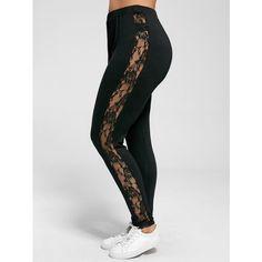 Plus Size Lace Trim Sheer Leggings (15 AUD) ❤ liked on Polyvore featuring pants, leggings, sheer trousers, womens plus size leggings, legging pants, womens plus pants and transparent leggings
