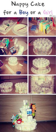Unisex Nappy Cake / Gâteau de langes unisex ©Celly