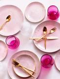 Dinner Plates in Rose with Gold Splatters (Set of Four)