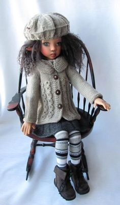 """Hand Knit Doll Outfit Set for BJD Doll 18"""" Kaye Wiggs"""