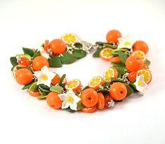Orange cha cha charm Bracelet Polymer clay jewelry Gift