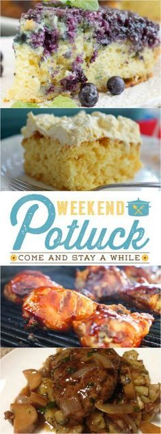 Featured recipes at Weekend Potluck # 263 include: Homemade Salisbury Steak, Secret Step BBQ Chicken, Sunshine Cake and Upside Down Blueberry Cake. http://www.thecountrycook.net