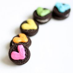 Mini Oreos with chocolate rainbow hearts for Valentine's Day