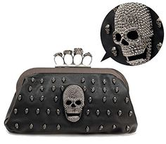 Cougars Collection Skull Knuckle Ring Evening Bag Gothic Clutch ** Want additional info? Click on the image.