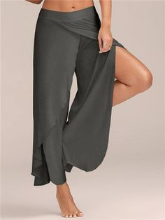 Gamiss Women Pant Sexy High Split Mid Waist Wide Leg Pants Flowy ba635cfabe6e