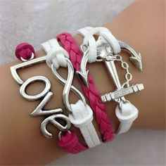 Anchor LOVE 8 Fashion Leather Cord Bracelet