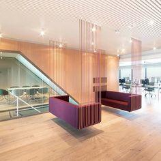 Metal Ceilings - Linear - + CCA from Hunter Douglas Architectural (Europe) Restaurant Interior Design, Office Interior Design, Interior Decorating, Cafe Design, Diy Design, House Design, Home Ceiling, Metal Ceiling, Corporate Interiors