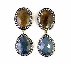 STERLING 925 SILVER NATURAL BROWN & BLUE SAPPHIRE DANGLE EARRING JEWELRY L 1.5 #SilvexStore #DropDangle