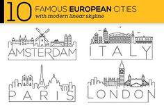 10 European Cities Linear Skyline