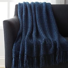 Landyn Blue Chunky Knit Throw - Crate and Barrel Navy Throw Blanket, Throw Rugs, Throw Pillows, Navy Blue Decor, Chunky Knit Throw, Blue Throws, Blue Bedding, Cozy Blankets, Knitted Blankets