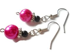 Bright Pink Earrings Pink Pearl Earrings Bold by chicagolandia, $13.00