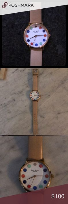 Kate Spade Watch Cute Kate Spade watch with a pink leather band. Will consider reasonable offers. No trades. kate spade Accessories Watches