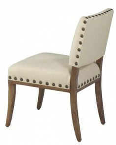Shown in fabric 1564-20, Vintage Latte Premium Wood Finish, & Optional 05-B Large Old Gold Nail Head Trim
