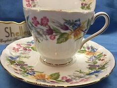 Vintage Small Fine Bone China Trinket Dish,Shelly from England,,Begonia Pattern,#VH7381