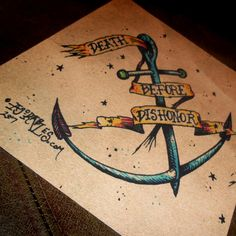 """Go Navy  """"Death Before Dishonor"""" Traditional Military Anchor Tattoo Art Print 8x10  By Agorables Support a Sailor on Etsy, $12.35"""