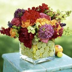Fruit in flower vase.  I have done this - so pretty!