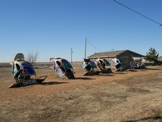 Historic Route 66 Amarillo Texas | VW Ranch. Ancient VW Beetles planted upside down in the dirt east of ...