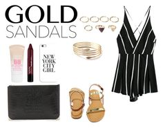 """""""Untitled #295"""" by sarabpais ❤ liked on Polyvore featuring Bamboo, Alexander Wang, Forever 21, Maybelline, Casetify, contest, redlips, jumpsuit, goldsandals and contestentry"""