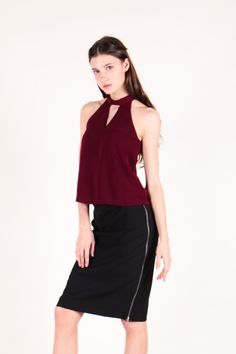Halter Neck Cut-out Front Top (Wine)  $28