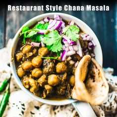 Restaurant Style Chana Masala is one of the most famous Indian vegetarian dishes. This melt in-mouth, and creamy chickpeas curry has a medley of spices. Veg Recipes, Curry Recipes, Indian Food Recipes, Whole Food Recipes, Vegetarian Recipes, Cooking Recipes, Cooking Tips, Punjabi Cuisine, Punjabi Food