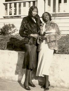 Antinque African American Women Gorgeous Vogue In Furs Old Photo Black Americana 2 • $13.00