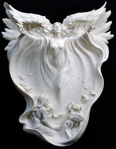 """anazale: """" Gaylord Ho Gaylord Ho was born April 1950 in Hsin-Wu, Taiwan. A master sculptor and inspired artist, his goal in every sculpture is to capture forever the fleeting emotion of a single. Angels Among Us, Angels And Demons, Statue Ange, Fantasy Kunst, Angeles, I Believe In Angels, Ange Demon, Angels In Heaven, Heavenly Angels"""