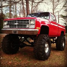 really Red really lifted chevy truck