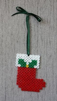 Christmas perler bead stocking by clara Melty Bead Patterns, Pearler Bead Patterns, Beading Patterns, Christmas Perler Beads, Beaded Christmas Ornaments, Christmas Crafts, Christmas Stockings, Xmas, Hama Beads Design