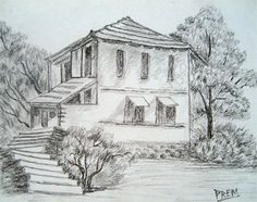 Simple Pencil Drawings of Houses | Simple House & Landscape Sketch