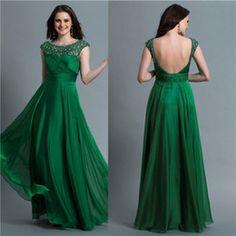 Elegante De Color Verde Esmeralda Vestidos De Noche Una Línea De Escote Listones…