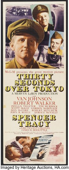 "Movie Posters:War, Thirty Seconds Over Tokyo (MGM, 1944). Insert (14"" X 36""). War....."