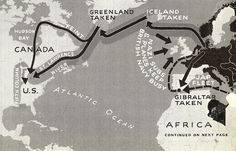 Nazi invasion maps of the USA. Plan Six is classic invasion down St. Lawrence and Hudson valleys. Germans could readily bomb Chicago, Detroit, Akron and rampage through Midwest. Big catch is getting past British Fleet. On all maps, black arrow alone means a feint; when combined with gray band, it means full invasion.