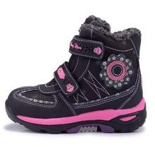 2b84442f6a6e5 Outdoor Girls Winter Snow Boots Waterproof Children shoes Genuine leather fashion  princess Boots Princesse