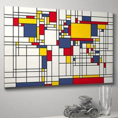 Mondrian-inspired world map art print by artPause