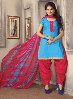 Sky Blue Cotton Patiala Suit 59545