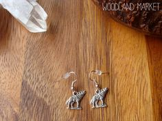 Howling At The Moon: Silver Wolf Charm Earrings on Etsy, $5.61 CAD