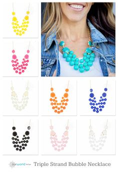Triple Strand Bubble Necklace $8.99. 8 colors  left, but they're going fast! #bubblestatement #bubblenecklace #statementnecklace #statementjewelry