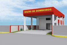 Modelo 3D do futuro predio da sede do corpo de bombeiros na cidade de ESCADA, PE