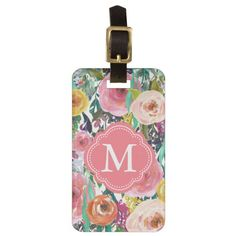 Romantic Garden Watercolor Flowers Monogram Luggage Tag #floral #luggage #tags