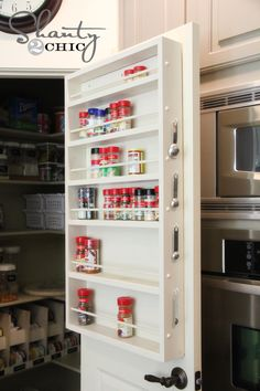 DIY pantry door spice rack - wall maybe? Pantry Door Storage, Pantry Door Organizer, Spice Storage, Diy Storage, Storage Ideas, Pantry Doors, Pantry Closet, Extra Storage, Storage Solutions
