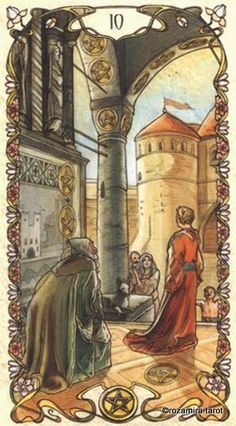 Ten of Pentacles Taking into consideration not just the short-term benefits of a particular venture but also the long-term benefits. It is about investing in the long-term and knowing that you need a consistent approach in order to achieve success that will last the test of time.