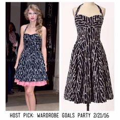 """Anthropologie black and white dress  Host Pick: Wardrobe Goals Party 2/21/16  """"Loopy lines and crisp dots traverse the crisp poplin of this ladylike design, from nipped waist to fill skirt and back again"""" -in excellent condition -worn by several stars, you can get it hemmed, too and look like Taylor Swift! -removable halter strap  -cotton; cotton lining -36""""L Anthropologie Dresses Midi"""