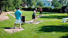 Keith Giagnorio created a Wiffle Ball field at his rental property. Backyard Sports, Backyard Baseball, Baseball Field Dimensions, Wiffle Ball, Sign Maker, Football Field, Home Team, Red Barns, Outdoor Projects