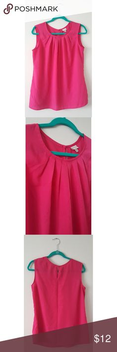 🌹Summery Pink Blouse🌹 This hot pink stunner is the perfect top to brighten up the office this summer! I wore this a handful of times at work before i outgrew it. My loss is your gain! ❤ Merona Tops Blouses
