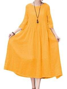 Gracila Women Pure Color 3/4 Sleeve Loose Swing Maxi Dress - Banggood Mobile