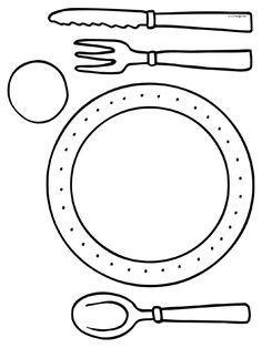 Kleurplaat Placemats - mes vork lepel - Kleurplaten.nl