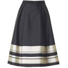 Ted Baker Striped Border Detail Full Skirt ($215) ❤ liked on Polyvore featuring skirts, black, ted baker, ted baker skirt and full skirt