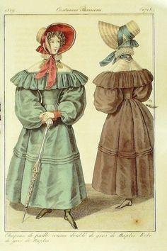 GRAVURE de MODE AUTHENTIQUE-I291-COSTUMES PARISIENS-ROBE NAPLES-n°2718-1829 …