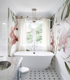 Private Residence. Whimsical Bathroom with floral large scale mural.